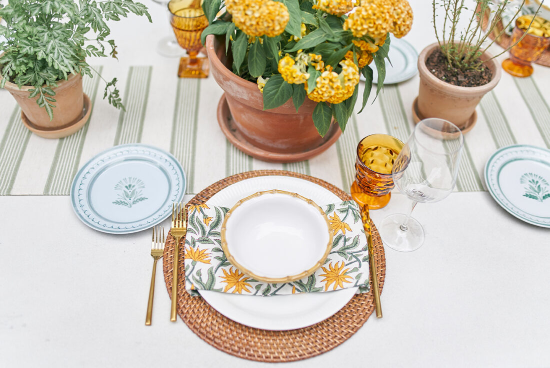 Fall Tablescape | using potted plants down the center of a table