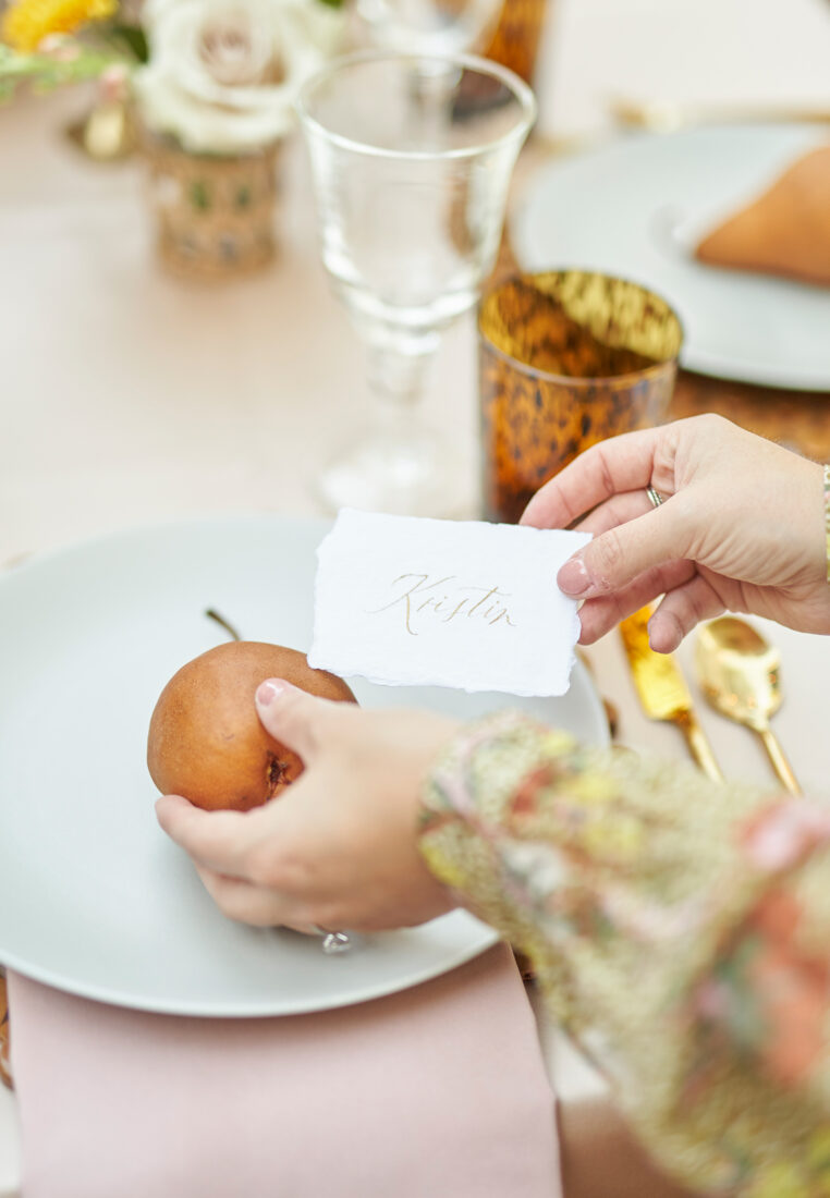 Pears as Place Cards | fruit forward Thanksgiving Tablescape