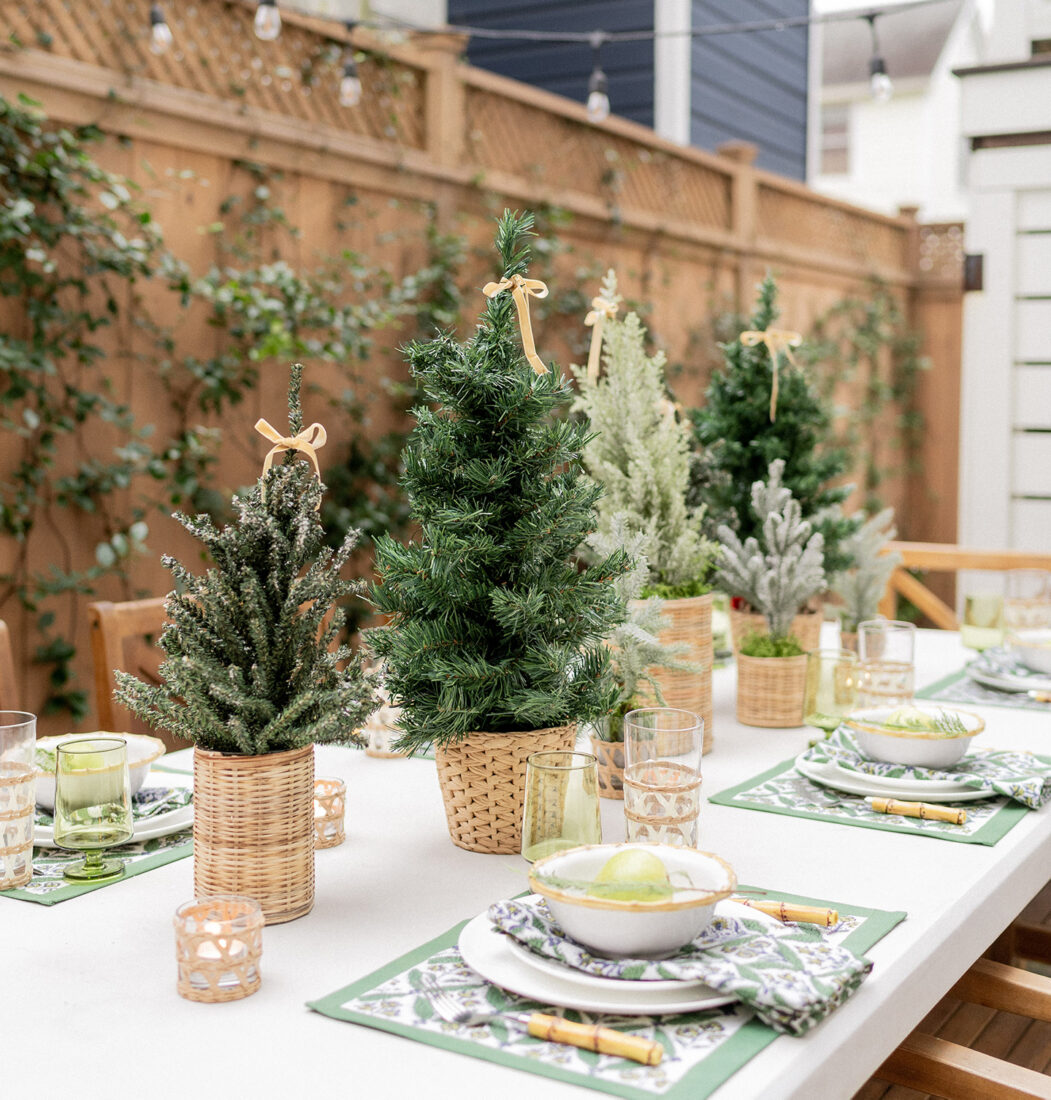 Mini Christmas Tree Centerpiece for an Outdoor Holiday Table