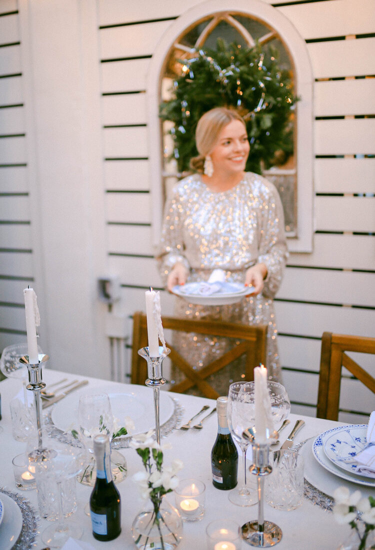 NYE Tablescape | Glitter Dress Setting the a Table of Blue & White Plates