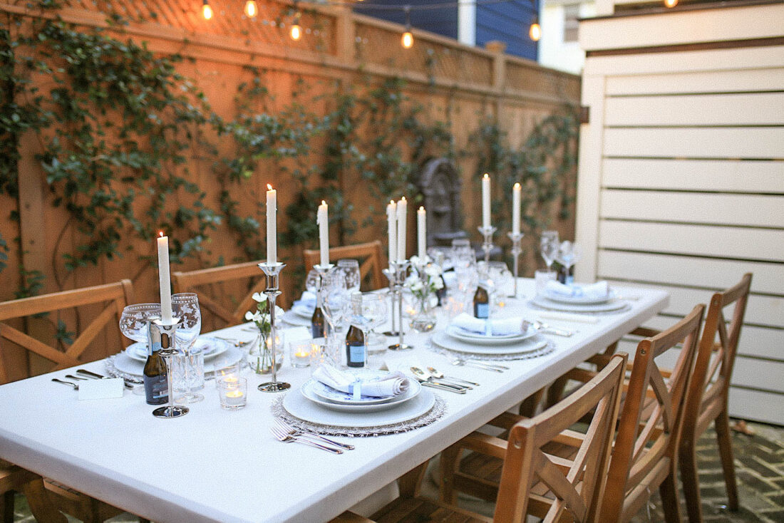 NYE Tablescape with Blue, White + Silver