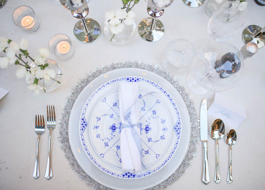 NYE Tablescape | Blue, White & Silver Place Setting
