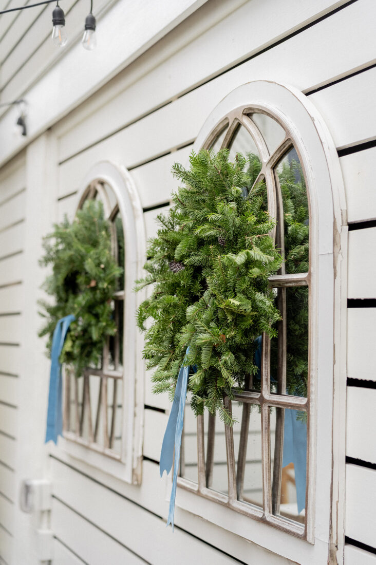 Fresh Pine Wreaths + Blue Velvet Ribbon